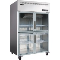 Cool-Linden 1220-4 Glass Doors Stainless Steel Refrigerator